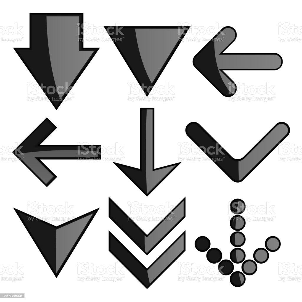Black arrows set. Web 3d icons vector art illustration