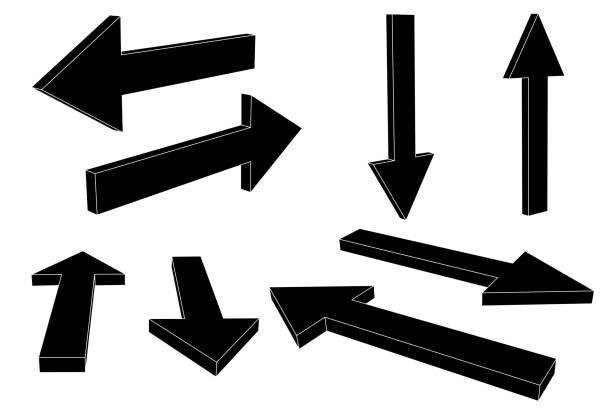 黑色箭頭向量藝術插圖