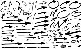Black paint marker grunge arrow vector illustration