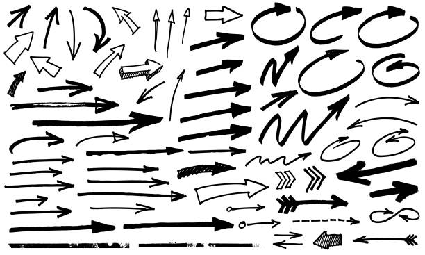 black arrows Black paint marker grunge arrow vector illustration arrows stock illustrations
