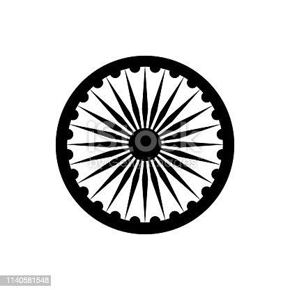 Black Ashoka Chakra symbol of national flag of the Republic of India isolated on white background. Vector EPS 10