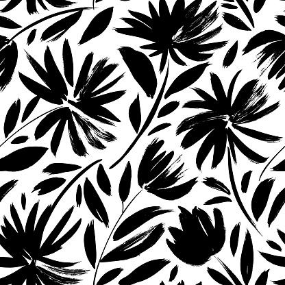 Black aster vector seamless pattern.