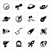 Black Astronomy Icons