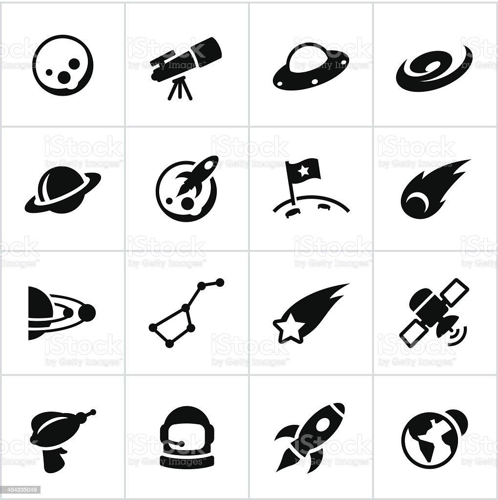 Black Astronomy Icons vector art illustration