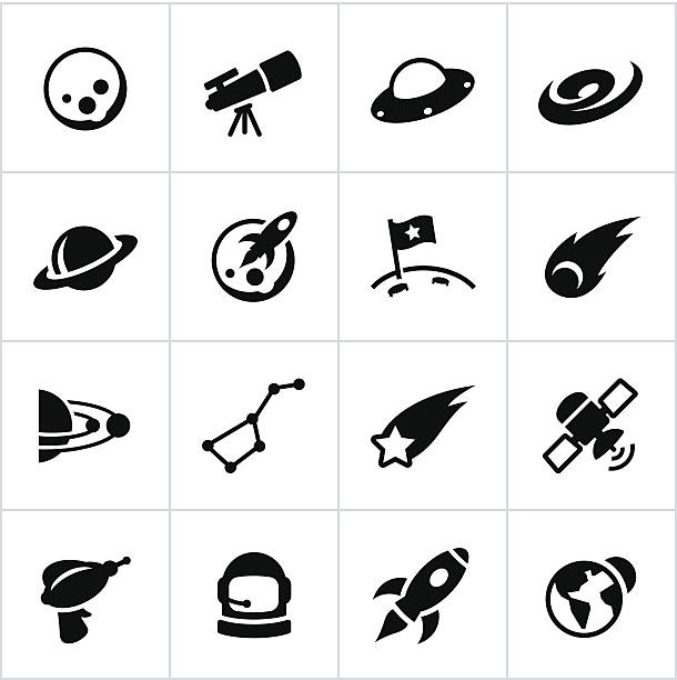 black astronomy icons - astronomy telescope stock illustrations