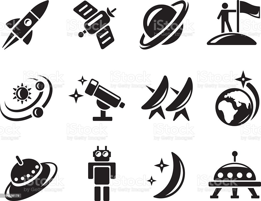 Black Astronomy Related Graphics On A White Background Royalty Free