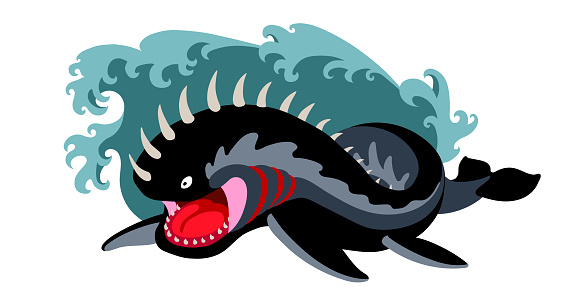 black attacking leviathan in the sea waves, a fantastic creature, a monster, a biblical character, color vector illustration isolated on a white background in the cartoon style and a flat design