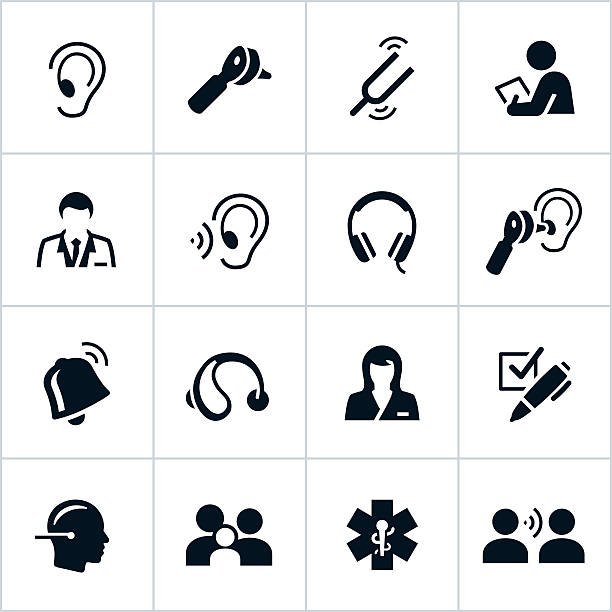 black audiology icons - hearing aid 幅插畫檔、美工圖案、卡通及圖標