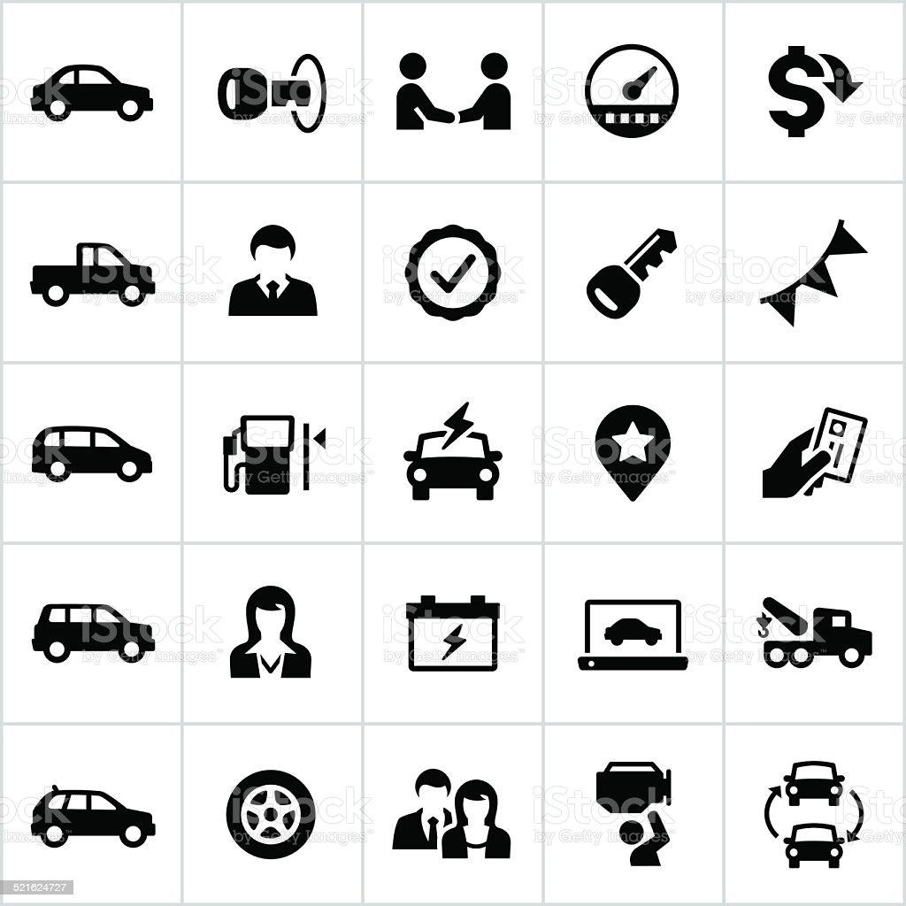 Black Auto Dealership Icons vector art illustration