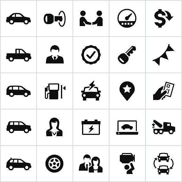 Black Auto Dealership Icons Auto dealership, car, vehicle, repair, service, icons, symbols, All white strokes/shapes have been cut from the icons and merged allowing background to show through. automobile industry stock illustrations