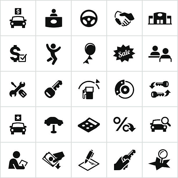 Black Automotive Sales Icons Automotive industry, car dealership, vehicle, car, automobile, icons, symbols. All white strokes/shapes cut from the icons and merged. automobile industry stock illustrations