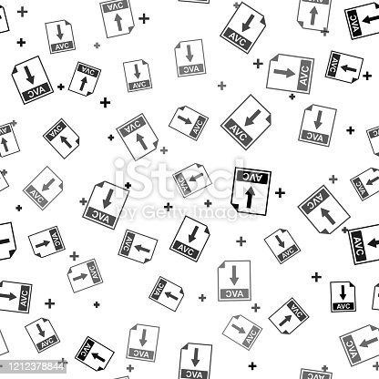 Black AVC file document icon. Download AVC button icon isolated seamless pattern on white background. Vector Illustration