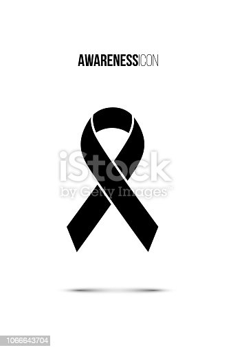 Black awareness icon isolated on white background. Vector design elements.