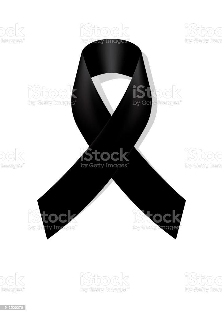 Black Awareness Ribbon On White Background Mourning Symbol Rip