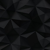 Black background. Abstract triangle mesh prism texture. 3D low poly crumpled piked pattern vector illustration.