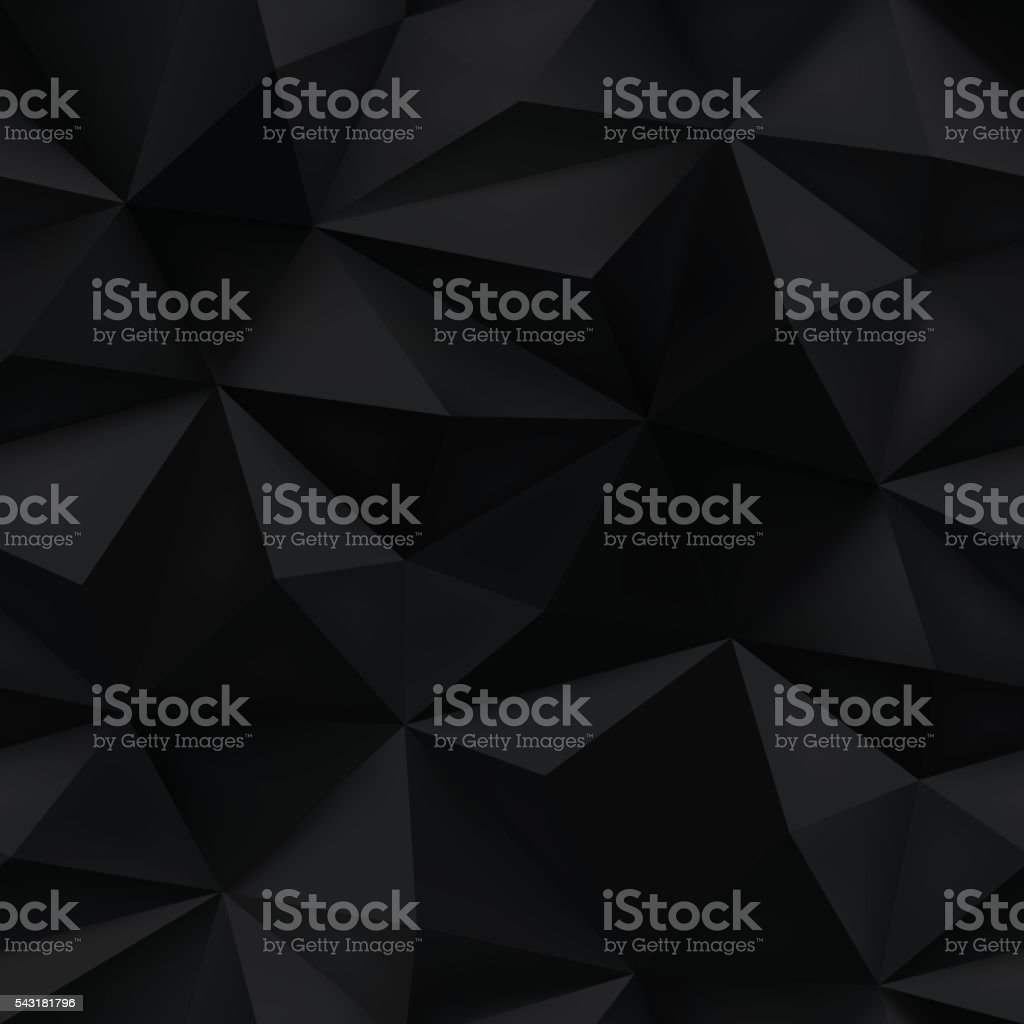 Black background. Abstract triangle crumpled texture. vector art illustration