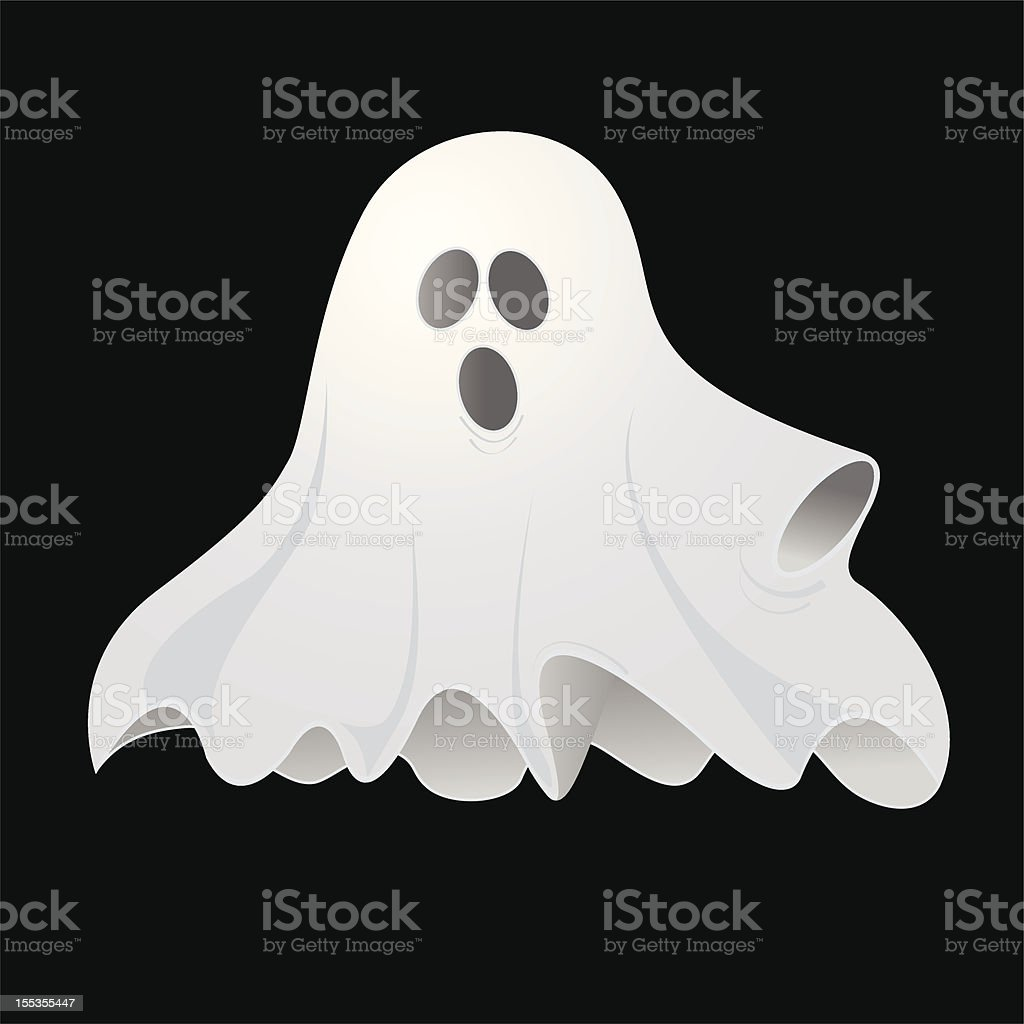 Black background and a white spooky ghost vector art illustration