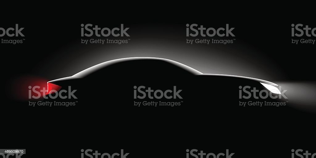 Black background and side view of a car only showing lights vector art illustration