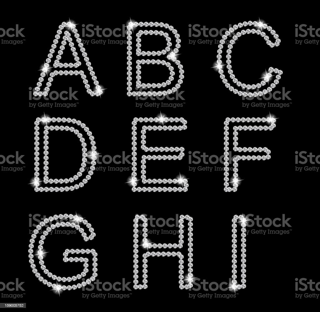 A black background with a diamond alphabet royalty-free stock vector art
