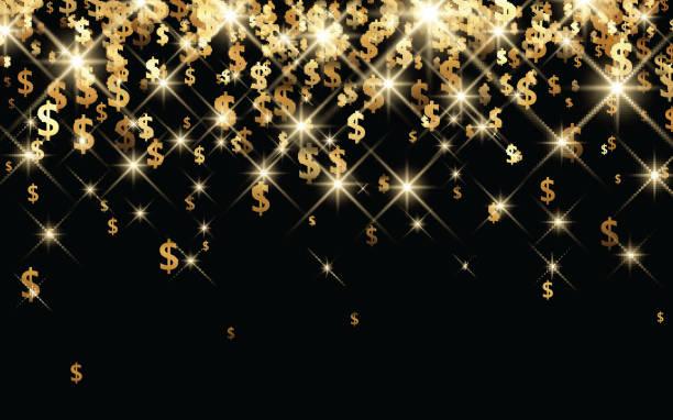 Schwarzer Hintergrund mit Dollar-Zeichen. – Vektorgrafik