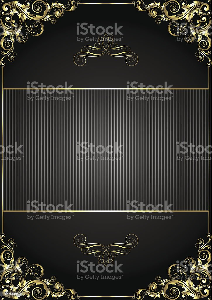 Black background with gold frame royalty-free stock vector art