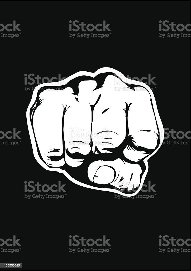 Black background with illustration of a fist vector art illustration