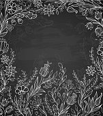 Decorative vector black background with white flowers. EPS 10 file, contains transparencies.