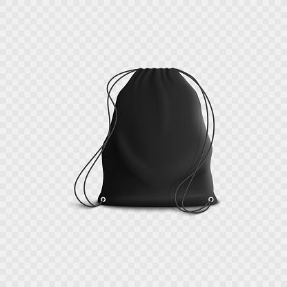 Black backpack with drawstring, realistic blank sports gym bag mockup with rope straps