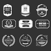 The vector file of white badges on black background.