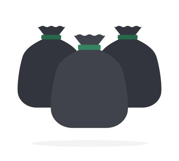 Black bags with garbage flat isolated vector art illustration