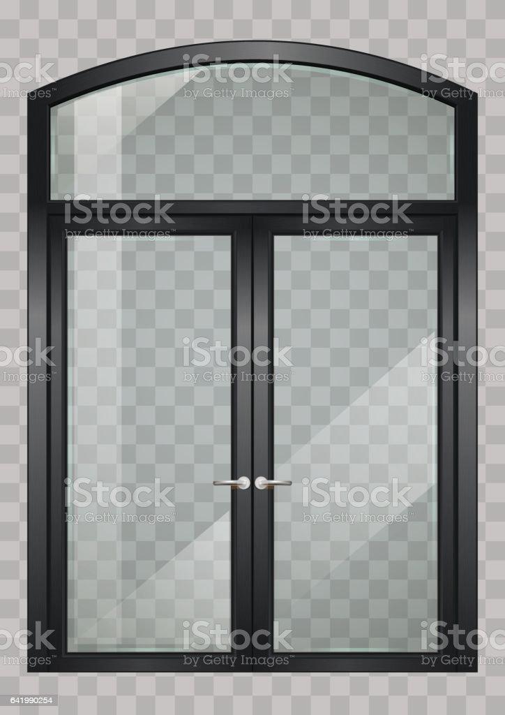 Black balcony door - ilustração de arte em vetor
