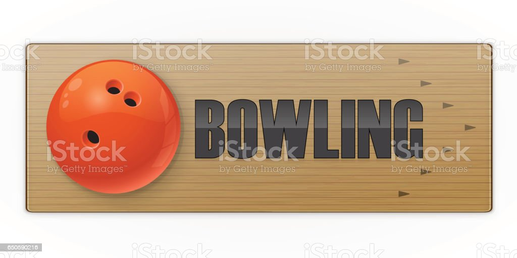 Black ball on the alley for bowling game vector art illustration