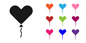 Black Balloon in form of heart with ribbon icon isolated on white background. Valentines day. Set icons colorful. Vector Illustration
