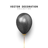 Black Balloon isolated on white background. Holiday element design realistic baloon with gold ribbon and bow