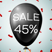 Black Balloon with text Sale 45 percent Discounts over grey background. Vector illustration