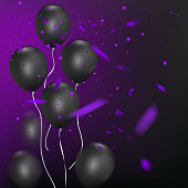 Black balloons with colorful confetti on dark background, festive atmosphere for your design. Vector illustration