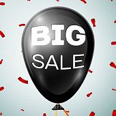 Black Baloon with text Sale 20 percent Discounts over grey background. Vector illustration