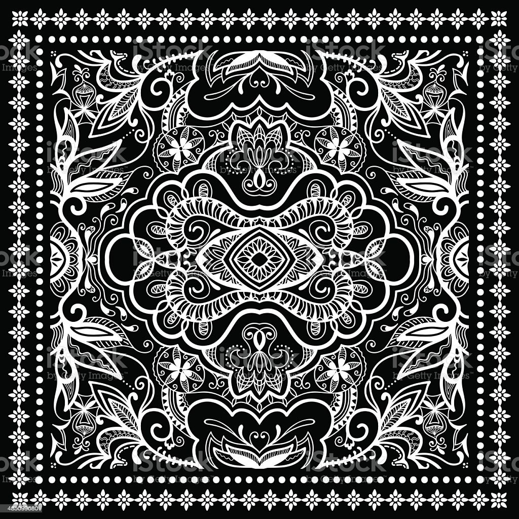 exquisite style best loved hot new products Bandana Noir Imprimé Écharpe En Soie Ou Motif Foulard Carré ...