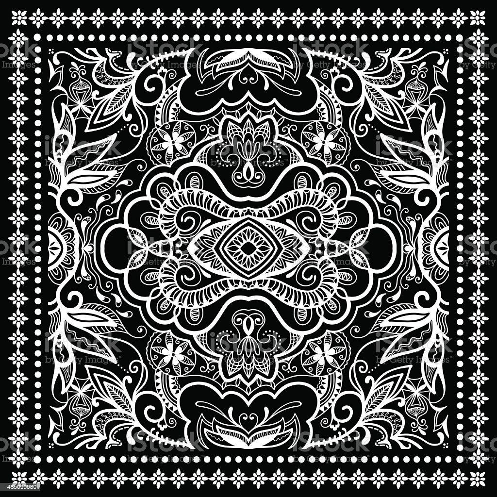 Black Bandana Print, silk neck scarf or kerchief square pattern vector art illustration
