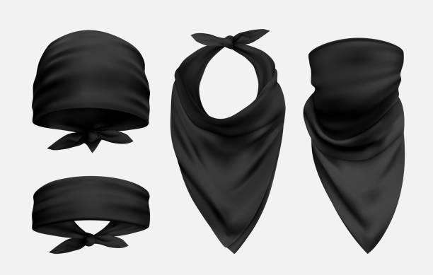 Black bandana realistic illustrations set isolated on white background Black bandana realistic illustrations set. Head and neck 3d accessory. Biker and cowboy clothes for protecting face isolated on white background. Fashionable silk kerchief. Unisex clothing neck stock illustrations
