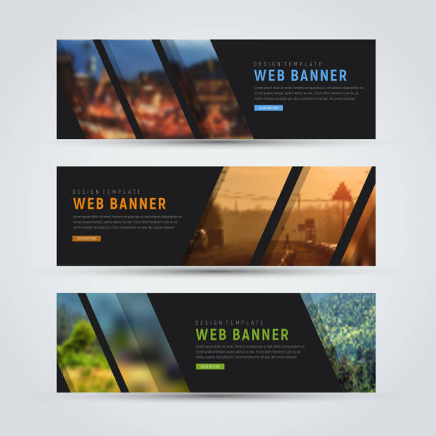 Black banner of standard size with diagonal stripes for a photo vector art illustration