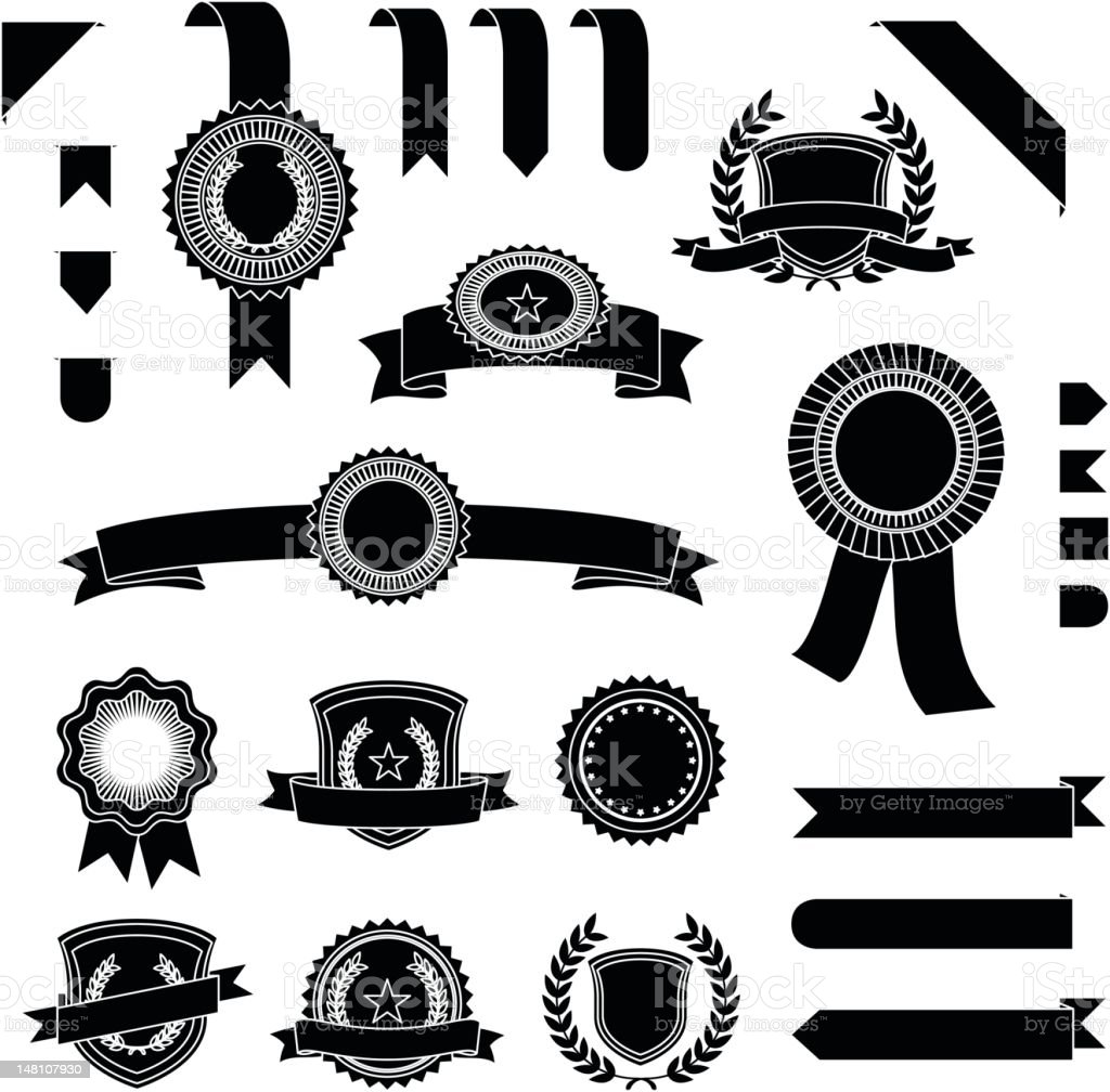 Black banners and ribbons set royalty-free black banners and ribbons set stock vector art & more images of award ribbon