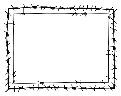 Black Barbed Wire Vector Rectangular Frame Metal Fence