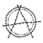 Black barbed wire vector round anarchy  symbol. Metal circle anarchism sign  illustration isolated on white background. Graphic military border object