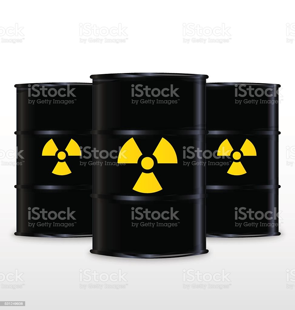 Black Barrel With Yellow Radioactive Symbol, Isolated On White Background vector art illustration
