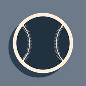 Black Baseball ball icon isolated on grey background. Long shadow style. Vector Illustration