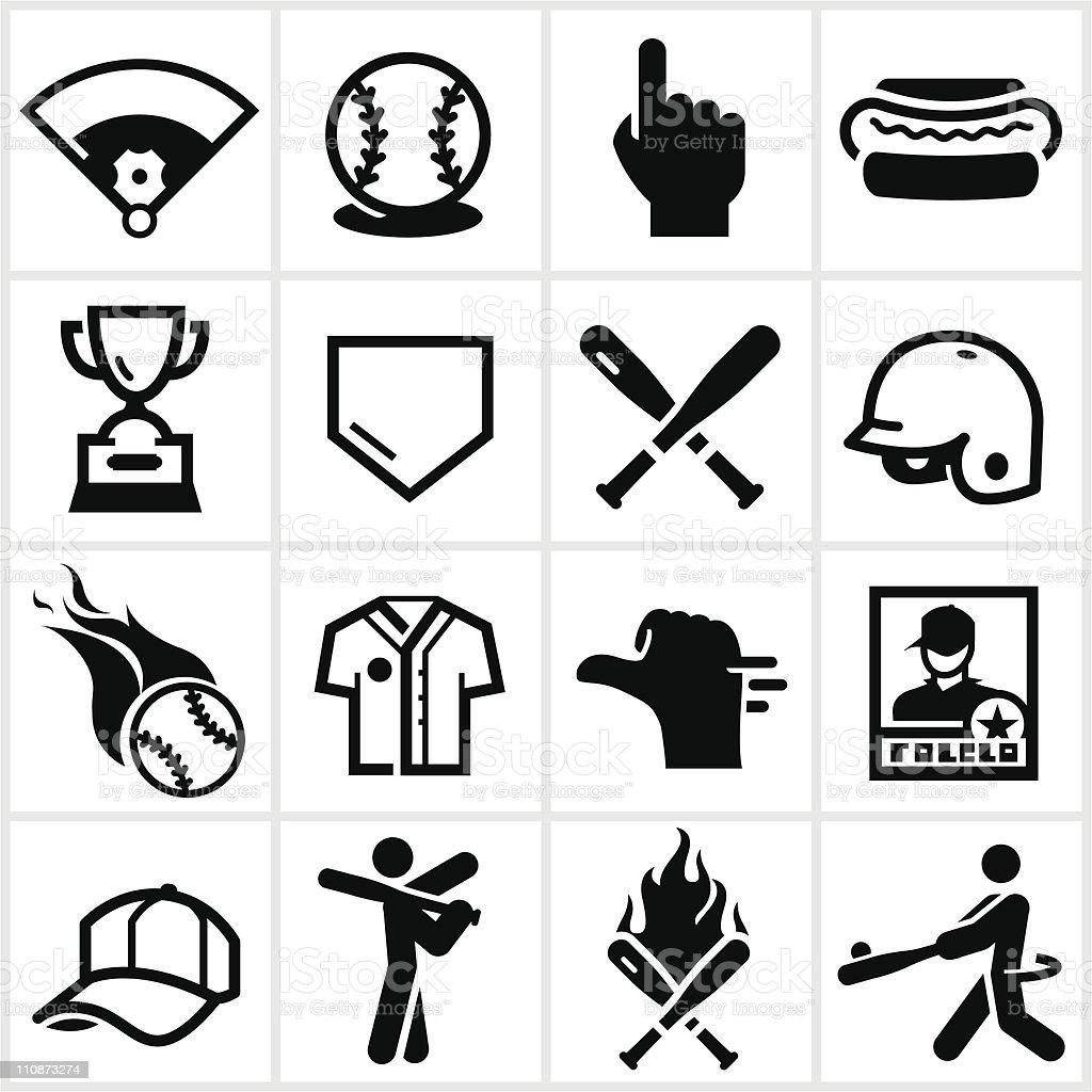Black Baseball Icons vector art illustration