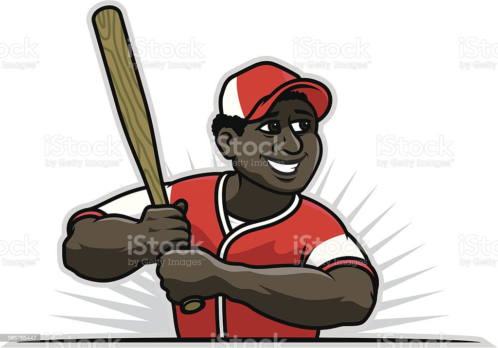 Black Baseball Player vector art illustration