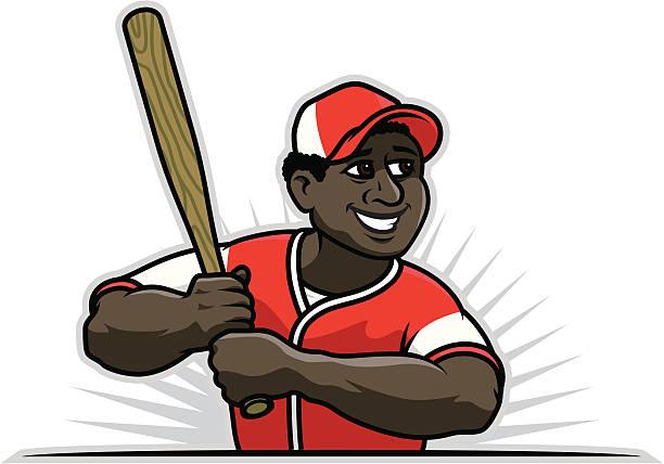 Black Baseball Player vector art illustration
