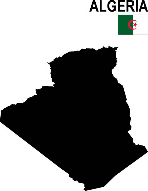阿爾及利亞的黑色基本地圖與旗子反對白色背景 - 阿爾及利亞 幅插畫檔、美工圖案、卡通及圖標